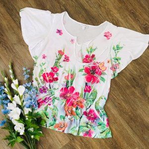 Beautiful Floral Tee with Flutter Sleeves!